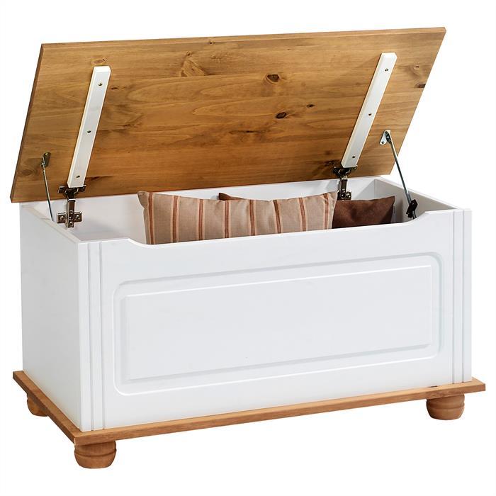 Sitztruhe in weiß/braun, Kiefer massiv, Landhaus-Stil