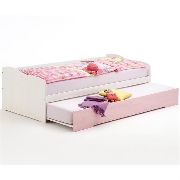 Funktions- Mädchenbett, 90x200,  weiß-rosa