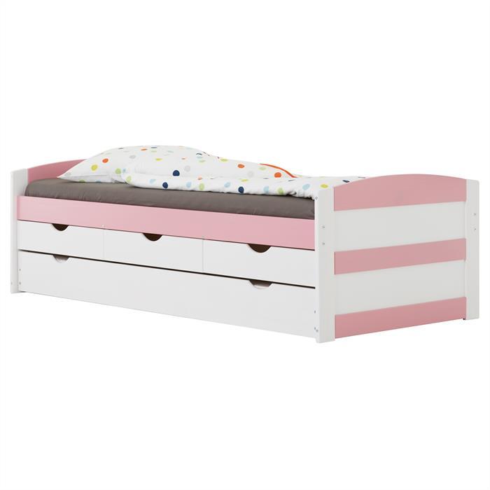Funktionsbett in weiß/rosa, 90 x 200 cm