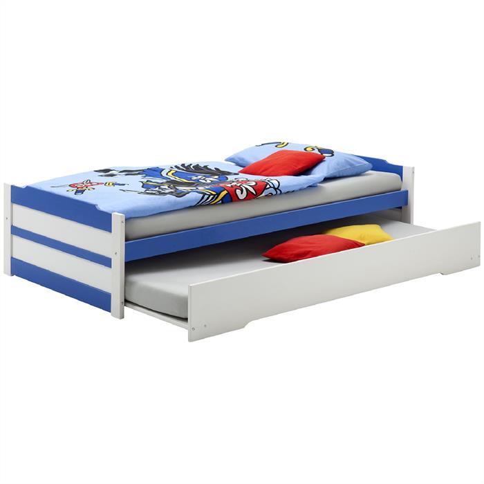 Funktionsbett 90x200 cm, weiß/blau lackier