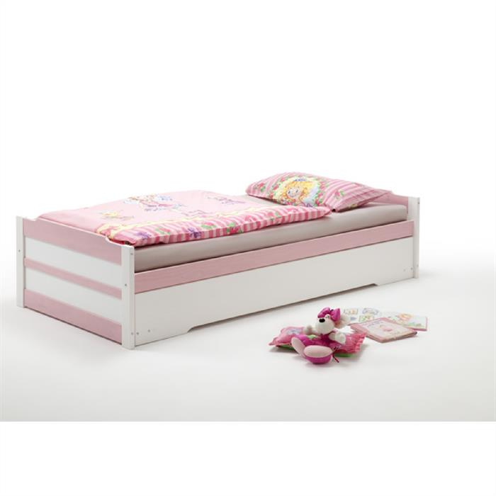 Funktionsbett 90x200 cm in weiß/rosa