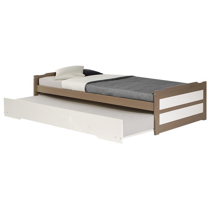 Funktionsbett in taupe/weiß, 90 x 190 cm