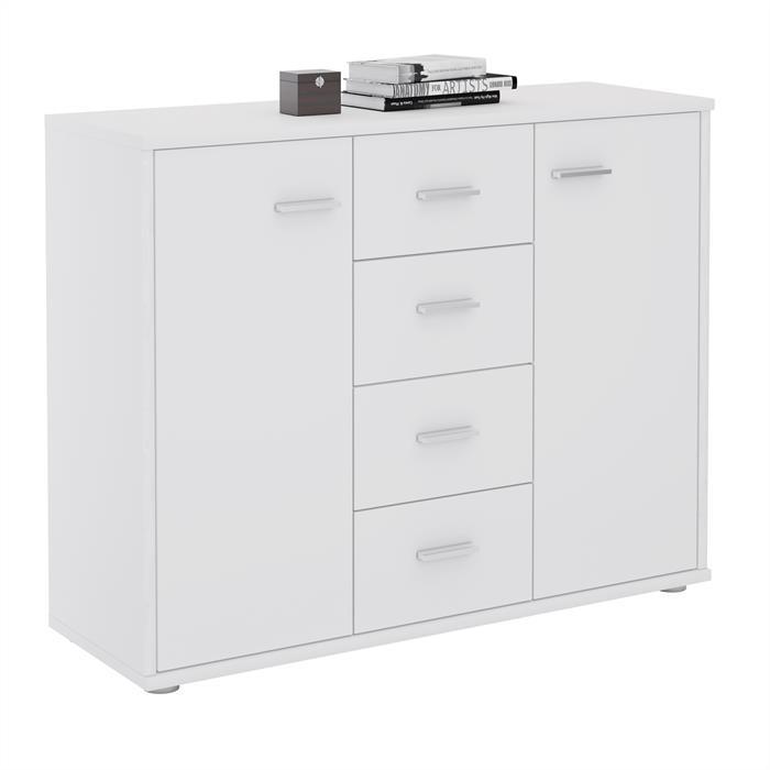 Sideboard JAMIE 2 Türen, 4 Schubladen in weiß