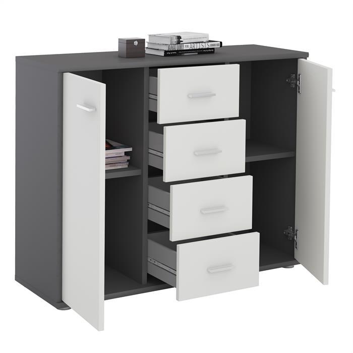 Sideboard JAMIE in grau/weiß