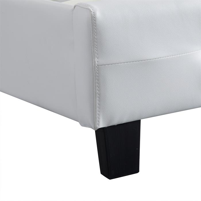 Polsterbett LIVERPOOL 90x200 cm, inkl. Lattenrost in weiß