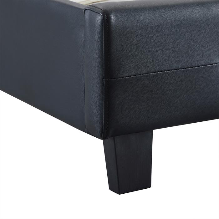 Polsterbett LIVERPOOL 90x200 cm, inkl. Lattenrost in schwarz