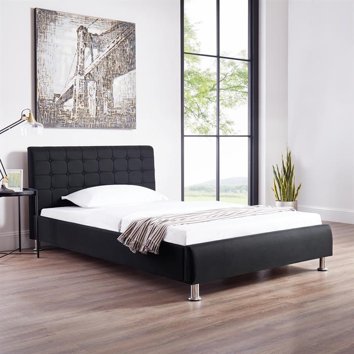 Polsterbett CANNES 120 x 200 cm, in schwarz