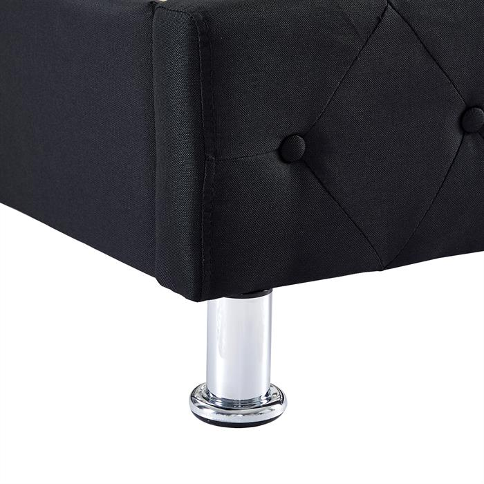 Polsterbett BIARRITZ 90 x 200 cm, in schwarz