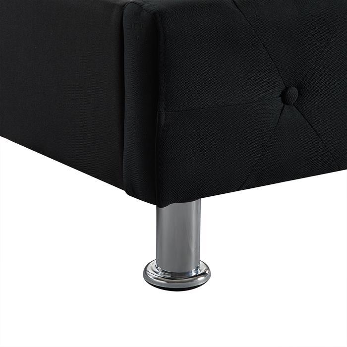 Polsterbett BIARRITZ 140 x 200 cm, in schwarz