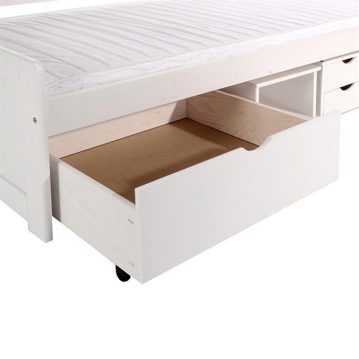 Funktionsbett VANESSA mit Stauraum, Farbe weiß