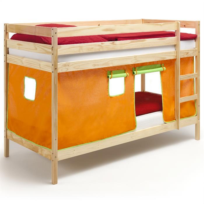 Etagenbett mit Vorhang, Kiefer natur