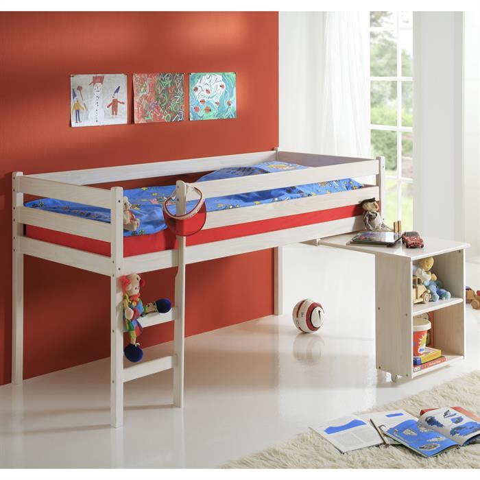 Hochbett mit Schreibtisch, weiß lackiert