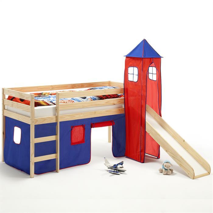 Rutschbett mit Turm und Vorhang blau/rot