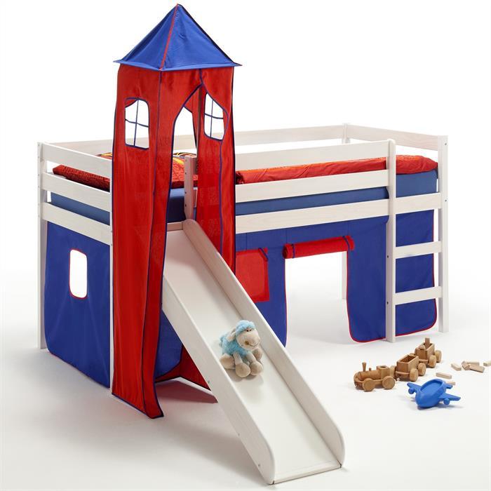Rutschbett mit Turm und Vorhang in blau/rot