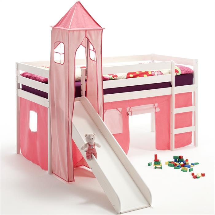 Rutschbett mit Turm und Vorhang in pink