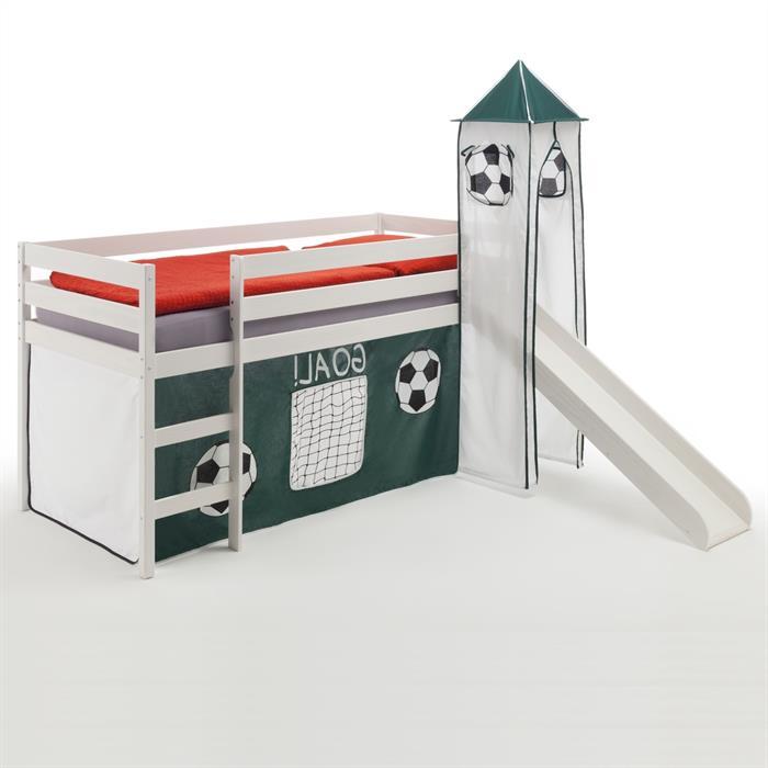 Rutschbett mit Turm und Vorhang Fußball