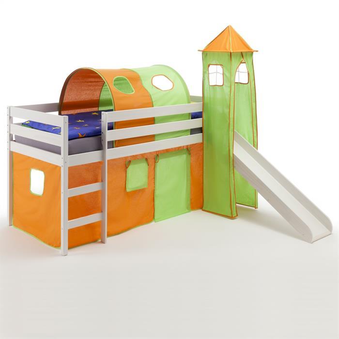 Rutschbett in orange/grün mit Tunnel, Turm, Vorhang