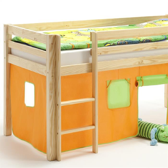 Bettvorhang fürs Hochbett, grün/orange