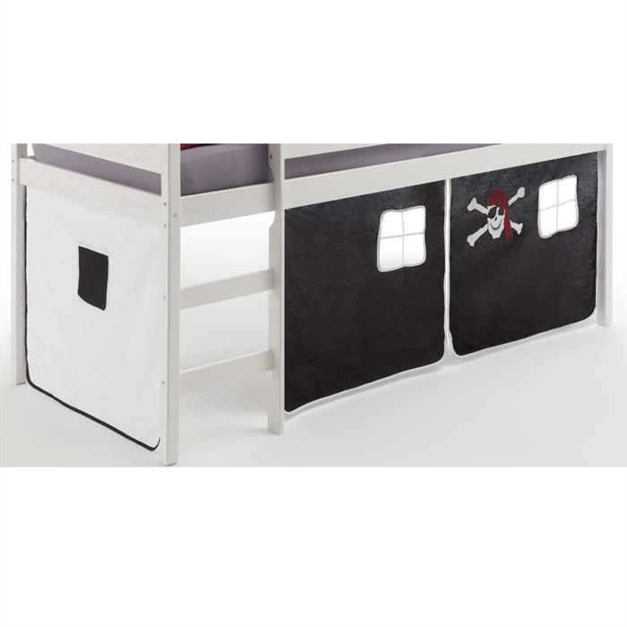 Bettvorhang Pirat in schwarz-weiß