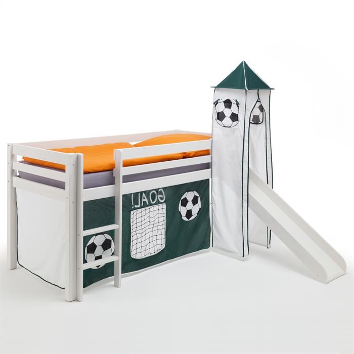 Rutschbett mit Vorhang & Turm Fußball