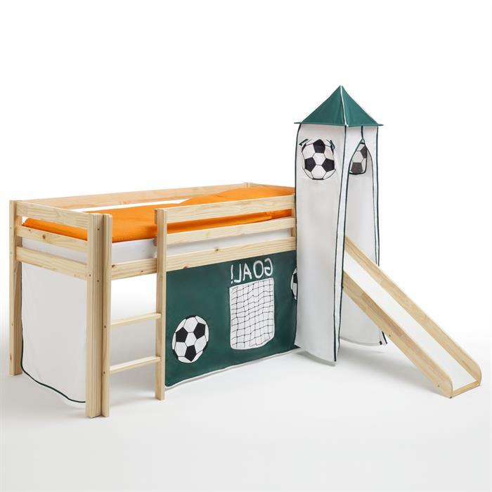 Rutschbett mit Vorhang und Turm Fußball