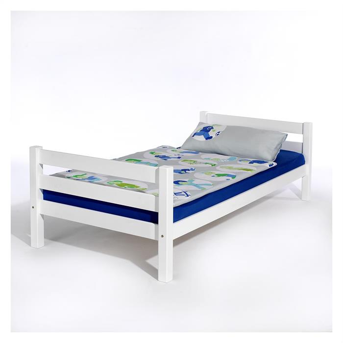 Einzelbett, 100 x 200 cm in weiß lackiert