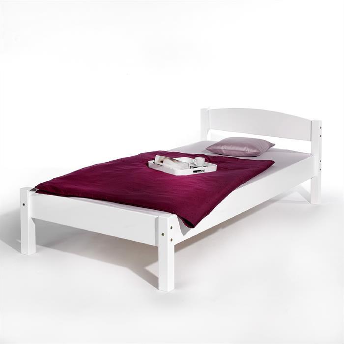 Einzelbett NILS, 90 x 200 cm Buche weiß