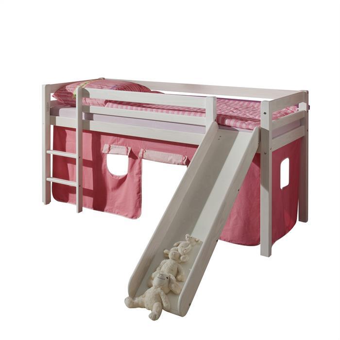 Rutschbett in weiß, Vorhang in pink/rosa