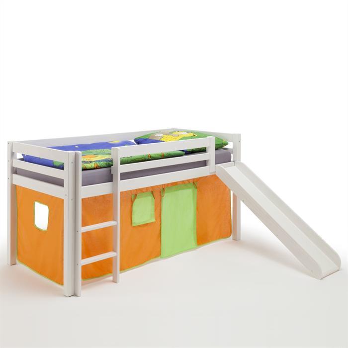Rutschbett in weiß, Vorhang orange/grün