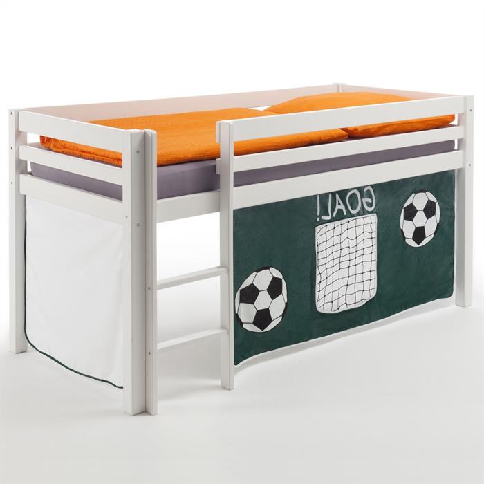 Hochbett in weiß mit Vorhang Fußball