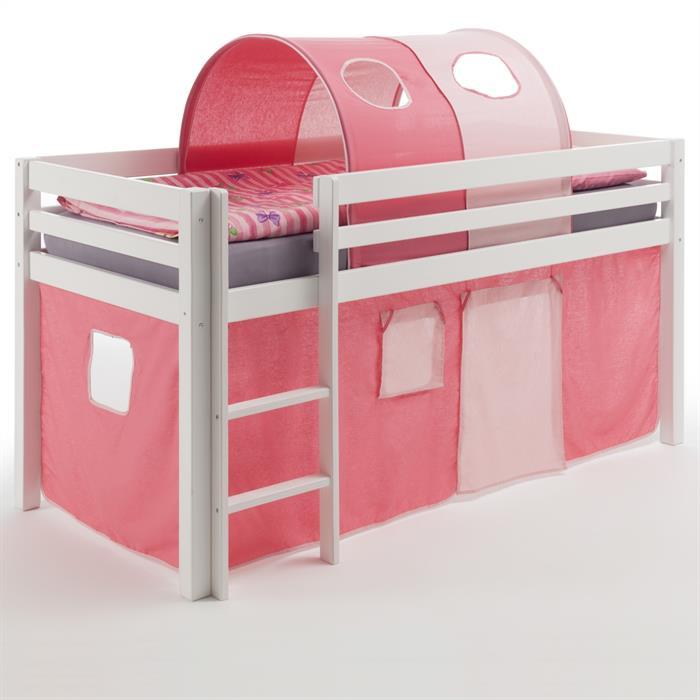Hochbett in weiß mit Vorhang pink/rosa