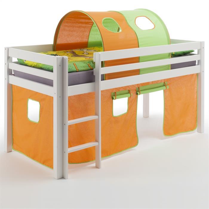 Hochbett mit Vorhang u. Tunnel orange/grün