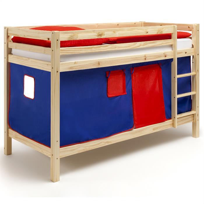 Etagenbett aus Kiefer, Vorhang blau/rot