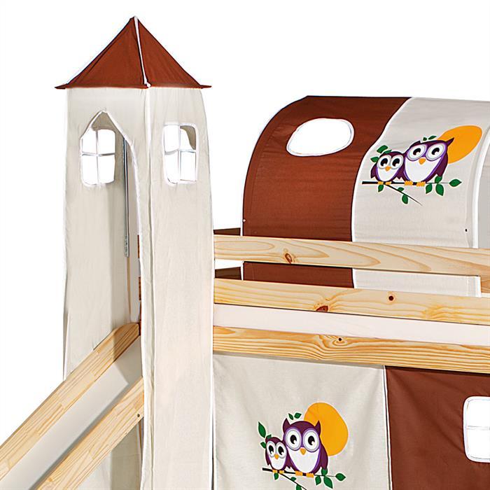 Turm zu Bett mit Rutsche, braun/beige