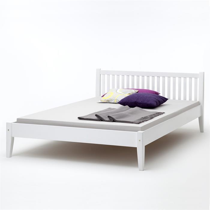 Doppeltbett JUDITH aus Buche in weiß