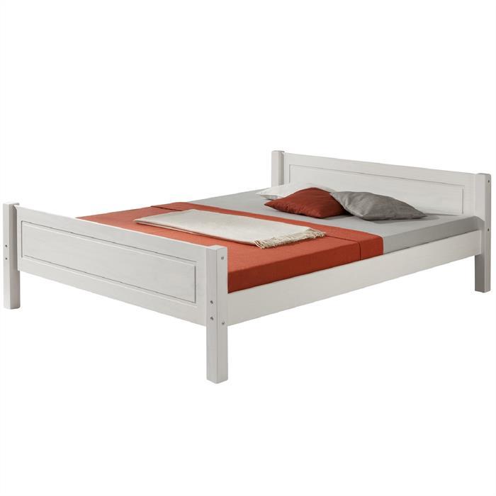 Doppelbett, Massivholz Kiefer, weiß