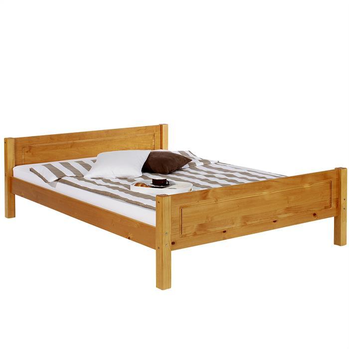 Doppelbett, Massivholz Kiefer, honigfarben
