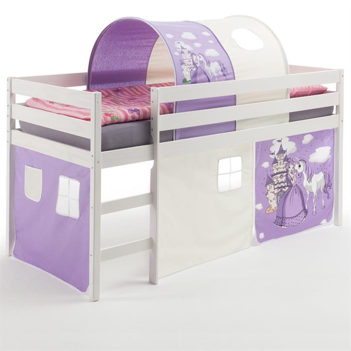 Hochbett mit Vorhang & Tunnel Prinzessin