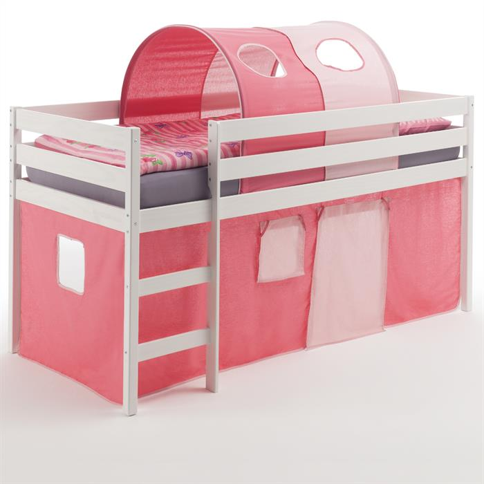 Hochbett mit Vorhang & Tunnel pink/rosa
