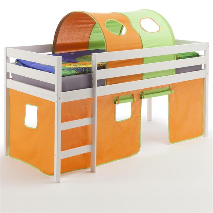 Hochbett mit Vorhang & Tunnel orange/grün