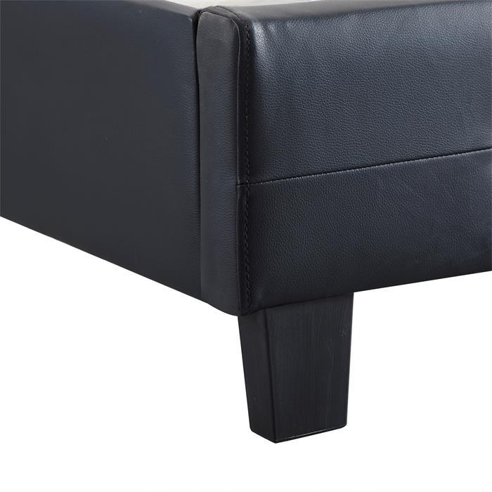 Polsterbett GLASGOW 90 x 200 cm, inkl. Lattenrost in schwarz