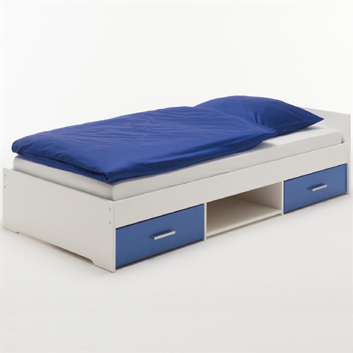 Funktionsbett 90 x 200 cm,  weiß/blau