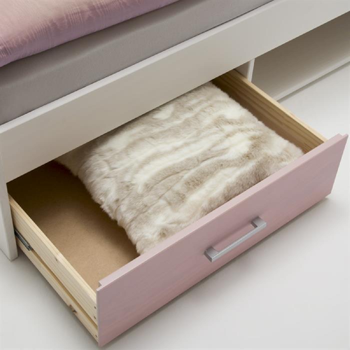 Funktionsbett 90 x 200 cm, weiß/rosa