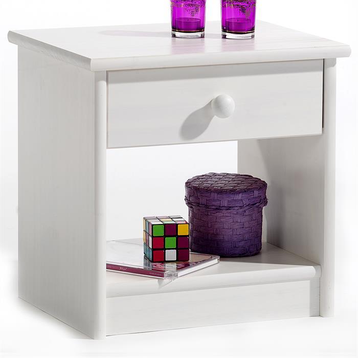 Nachtkommode, Schublade/Ablagefach, weiß