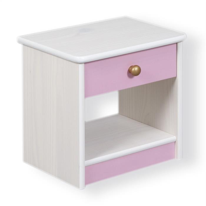 Nachtkommode, Kiefer massiv in weiß/rosa