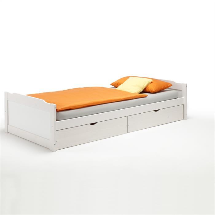 Funktionsbett 90x200 cm, Kiefer, weiß