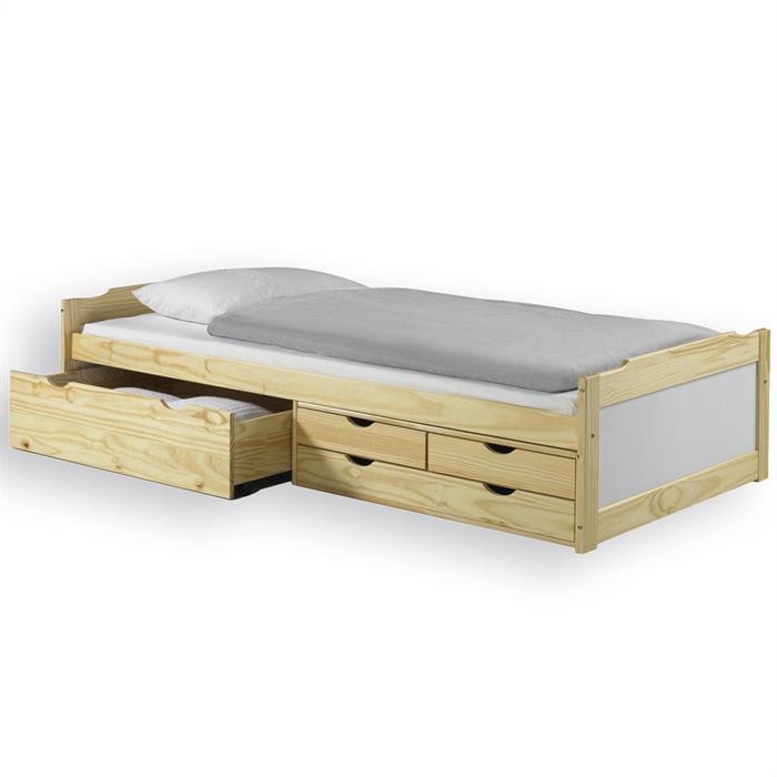 Funktionsbett mit Stauraum, natur/weiß