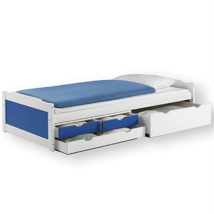 Funktionsbett mit Stauraum, weiß/blau