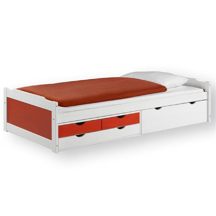 Funktionsbett mit Stauraum,  weiß/rot