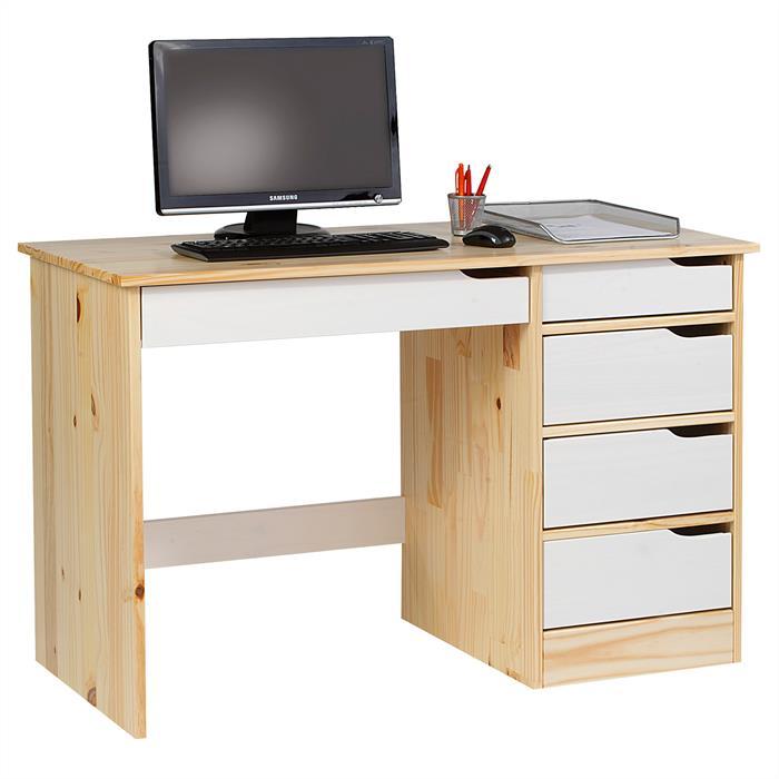 Schreibtisch in Kiefer massiv natur/weiß